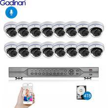 Gadinan h.265 16ch 5mp poe nvr sistema de cctv 5mp 335e 3mp 2mp 1080p áudio microfone poe ip câmera p2p kit de vigilância por vídeo