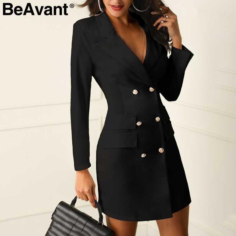 BeAvant элегантный черный Женский блейзер платье короткое для офиса с длинным рукавом платье плюс размер двубортный белый костюм женские платья 2019