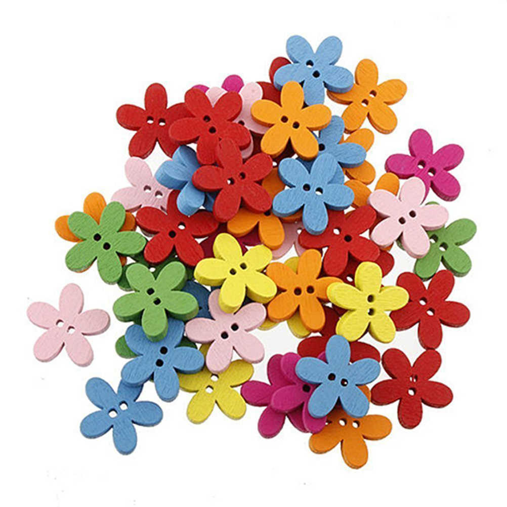 100pcs Colorful Flower Flatback Wooden Buttons Sewing Scrapbooking Craft