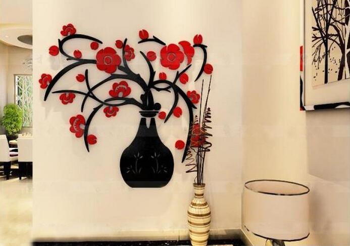 DIY New 3d Stereo Acrylic Crystal Vase Plum Living Room