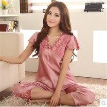 Pajamas For Women Summer Ladies Silk Pyjamas Pants Stitch Women Lounge Nightshirt Pajama Sets XXXL Pijama Mujer