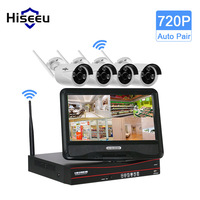 Hiseeu 1TB HDD 10 Inch Displayer 4CH 720P Wireless CCTV System Wireless NVR WIFI IP Camera