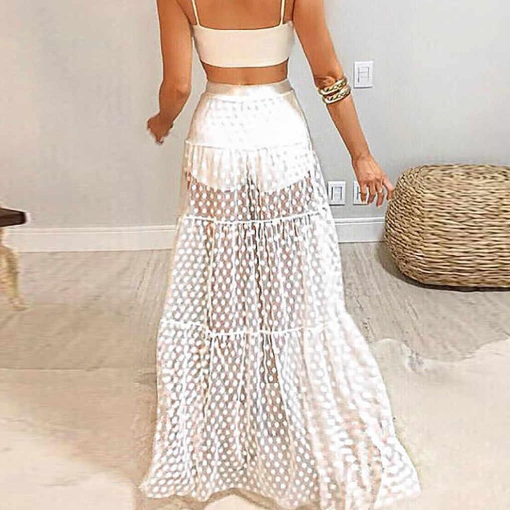 Hirigin женская сексуальная прозрачная сетчатая юбка в горошек с высокой талией Женская длинная шифоновая фатиновая пляжный длинный макси юбка летняя