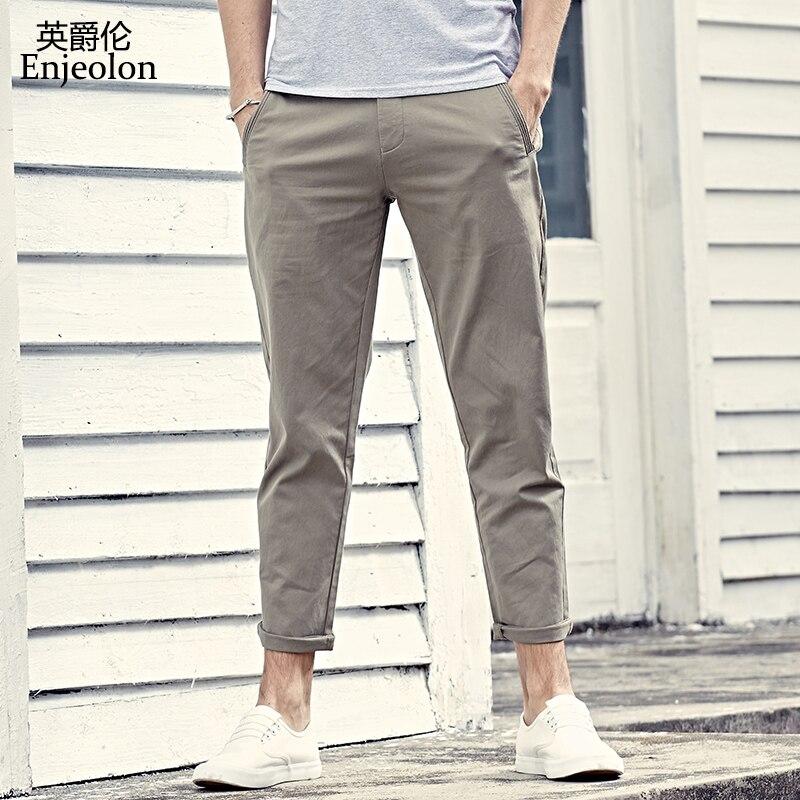 Enjeolon brand 2017 ankle length trousers khaki black pencil pants men, top quality clothing males Causal fashion clothes K6226