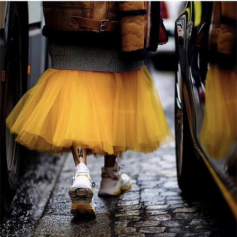 Tulle skirt 메쉬 투투 스커트 여성용 여성용 luxury brand spring summer 2019 뉴 옐로우 퍼플 컬러 볼 가운 long maxi skirt-에서스커트부터 여성 의류 의  그룹 1