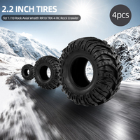 RC Parts 4Pcs 2.2 Inch 125mm 1/10 RC Rock Crawler Tires for 1:10 Rock Axial Wraith RR10 RC Rock Crawler Jeep Truck