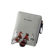 Monedero mujer women's wallet small folding fresh mini tide personality coin purse cute cartoon animal small coin zipper wallet цены онлайн