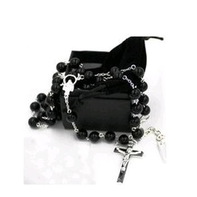 2017 fashion rosary Cross Necklace & pendant Bead David black Necklaces Chain with bag box