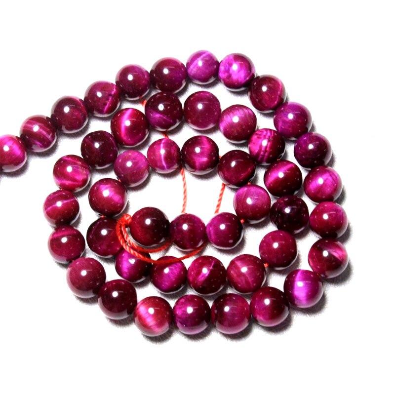 b277e52b38b5 Al por mayor de Grado Superior Rosa Natural del ojo de tigre rojo Semi piedra  de Gema perlas para la fabricación de la joyería DIY pulsera collar 6  ...