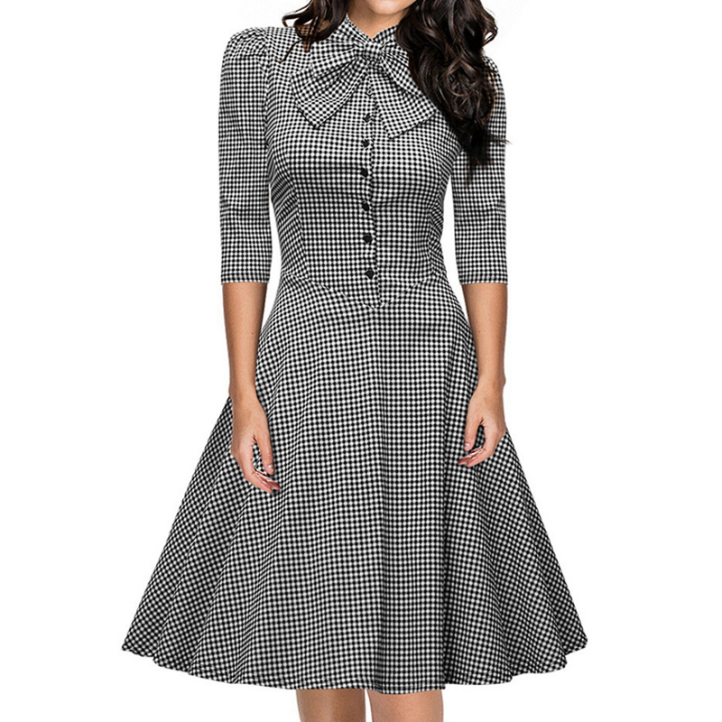 font b Tartan b font Party Women Dress 2016 European and American style Autumn Half