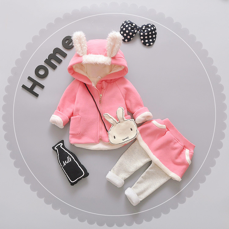 Winter Newborn Baby Girl Clothes Kids Outfit Sets Children Cotton Baby Girl Clothing Rabbit Coat+pants Sets Ropa Bebes Suit jetem fairy pink