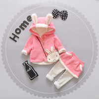 Winter Newborn Baby Girl Clothes Kids Outfit Sets Children Cotton Baby Girl Clothing Rabbit Coat+pants Sets Ropa Bebes Suit