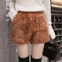 DoreenBow Winter Shorts Voor Vrouwen Wol Laarzen Losse Casual Bont Dikker Hoge Taille Zwart/Caramel Colour Effen Dames Shorts