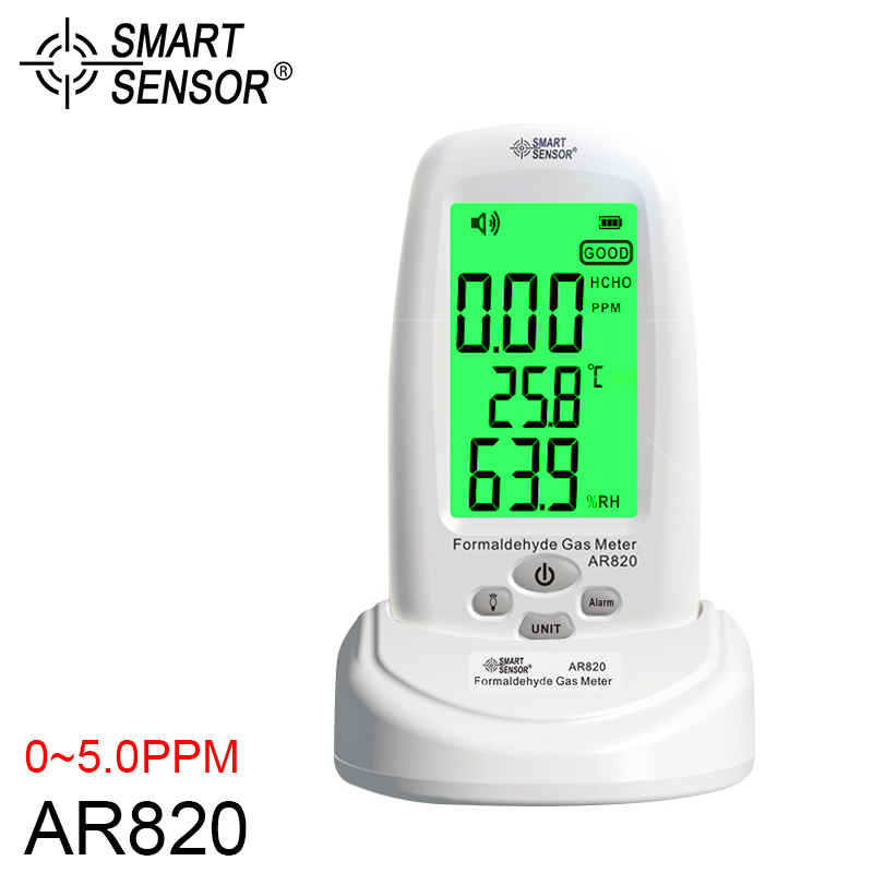 Smart Sensor AR820 Air Monitor Digital Formaldehyde Gas Detector 0~5.0PPM Indoor Humidity Temperature Meter Gas Analyzer 0 2000ppm range wall mount indoor air quality temperature rh carbon dioxide co2 monitor digital meter sensor controller