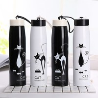 Vacuum Cup Originality Personality Stainless Steel Cup Lovely Cartoon Small Kitty Lovers Accompanying Water My Bottle