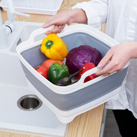 Japan Style Folding Sink Washing Basket Kitchen Fruit and Vegetable Drain Storage Basket