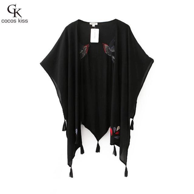 Mujeres Abrigos Chaquetas 2016 Mujeres A Estrenar Negro Pájaro bordado Del Kimono Kimono Cardigan Chaqueta de la Borla de La Franja Superior