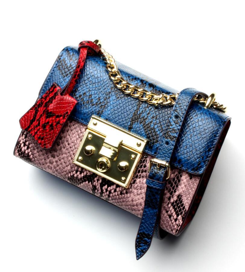 New fashion snake grain cowhide chain bag women small crossbody Messenger Genuine Leather handbag