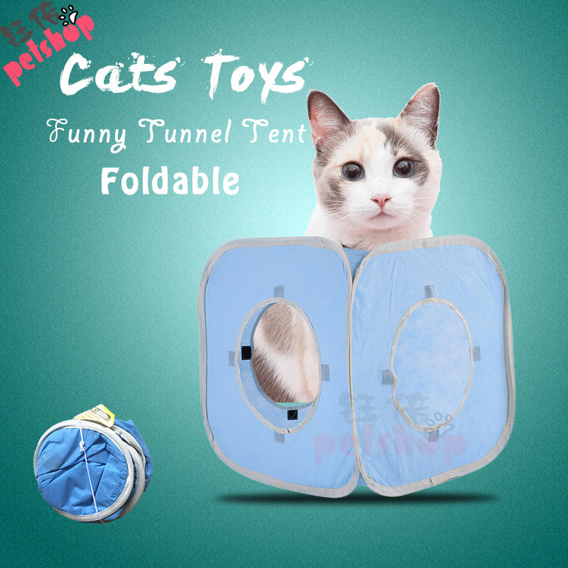 Fun Pet Cat Tunnel Tent Toy Foldable 3 Holes Pet Products Cat Supplies for Cat Toys Tunnels Beds Mats Rabbit Play Games