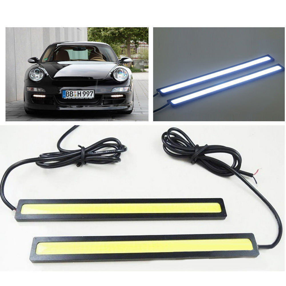 2Pcs/Lot 12V LED COB Car Auto DRL Driving Daytime Running Lights Waterproof External Led Fog Lamp Panel Lighting Car Styling suprer bright 2pcs 30cm 12v daytime running lights waterproof car drl cob driving fog lamp flexible led strip car styling