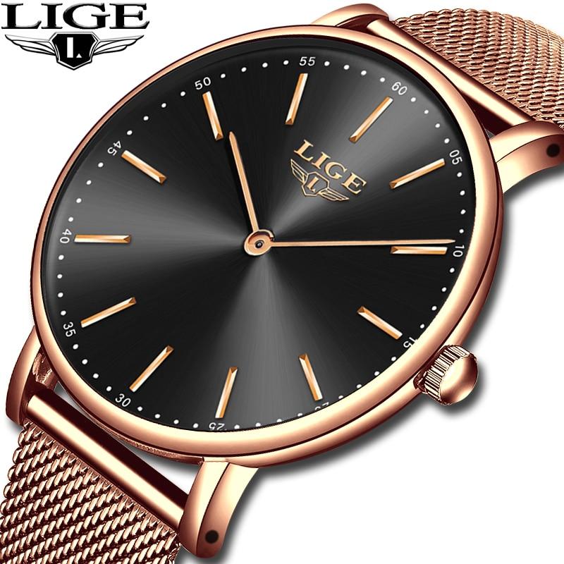 LIGE Nouvelle Montre de Mode De Femmes De Luxe Montre Relojes Mujer Acier Inoxydable Quartz Horloge Femmes Montres Zegarek Damsk Montre Femme