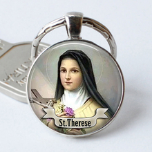 ST THERESE Keychain Religious Medal Saint Custom Keyring Art St Therese Gift Jewelry Religious Cabochon Religious Key Ring Chain gdrgyb 2019 st anthony of padua saint necklace st anthony jewelry cabochon religious religious gift necklace