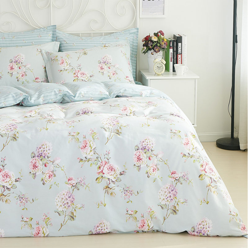 BIG Sale Fashion Bed Linen Pastoral Bedding Set Flower Print Duvet Cover Classic Bed Sheet Elegant Home Bedding Bed Cover