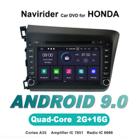 touch screen OTOJETA Android 9.0 car dvd player FOR HONDA CIVIC 2012 2015 navigation car accessories gps Multimedia radio