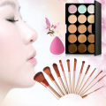 Promotion 15 Colors Concealer Palette+Makeup Foundation Sponge+12 Pcs Makeup Brushes Kit GUB#