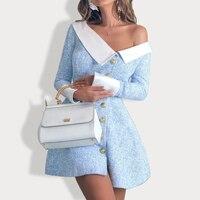 2019 Spring Office Lady Mini A line Dress Women Long Sleeve Blue Dress with Button Female Formal Work Slim Dress Robe De Femme