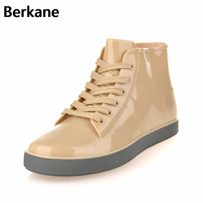 Rubber Ankle Rain Boots Women 2017 Waterproof Rain Boot Woman Brand Water Shoes Lace Up Solid  Flats Botas Free Shipping Quality цены онлайн