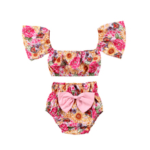 New Fashion Toddler Baby Girls Clothes Off shoulder Floral Crop Tops T shirt+ bow-knot Shorts 2pcs Outfits Set Sunsuit Clothes 2018 newborn toddler kids baby girls 3d rose floral off shoulder t shirt tops denim raw hem hot shorts outfits clothes 2pcs set