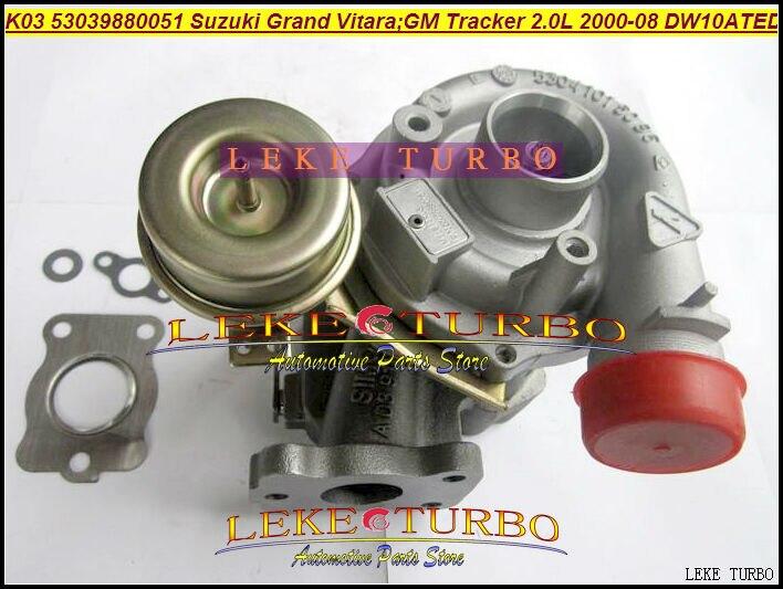 Free Ship Turbocharger K03 53039700051 53039880051 ZY34027010 Turbo For GM Tracker For Suzuki Grand Vitara 2.0L Engine DW10ATED