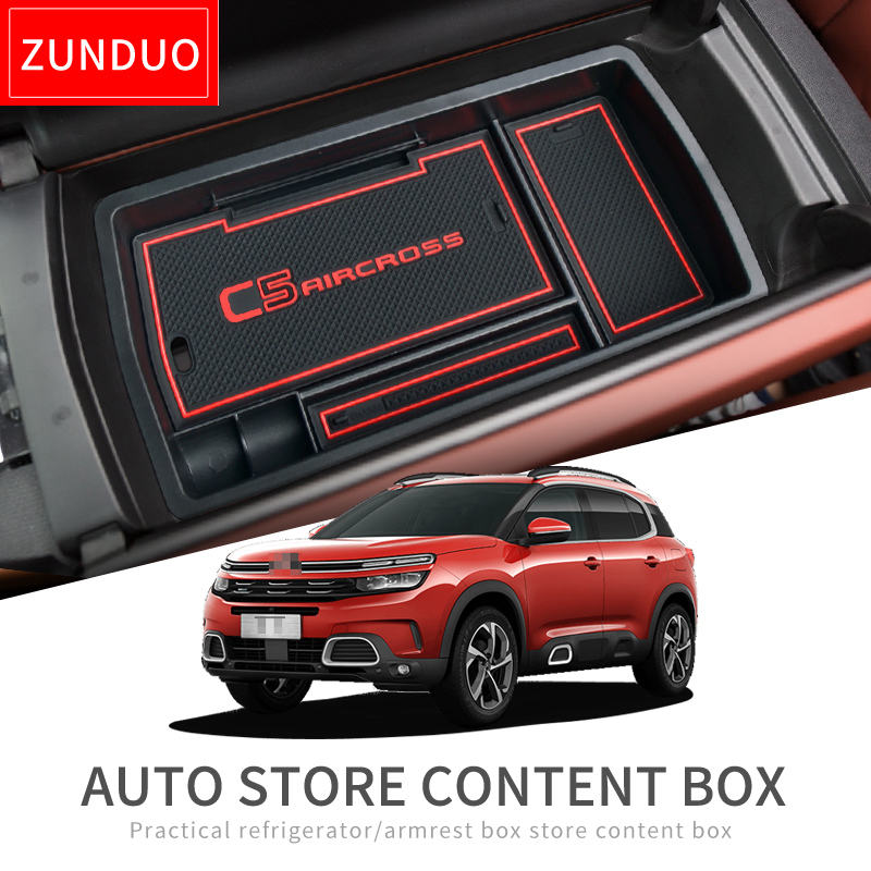 ZUNDUO Armrest Box Storage for Citroen C5 Aircross 2017 2018 2019 Stowing Tidying Car Organizer Internal Accessories C5-Aircross