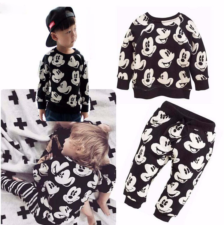 Boys Girls Clothing Sets Fashion Mickey Minnie Baby boy T-shirt+Pants Suit 2pcs Outfits Kids Sport Suit For Children Clothes Set 2