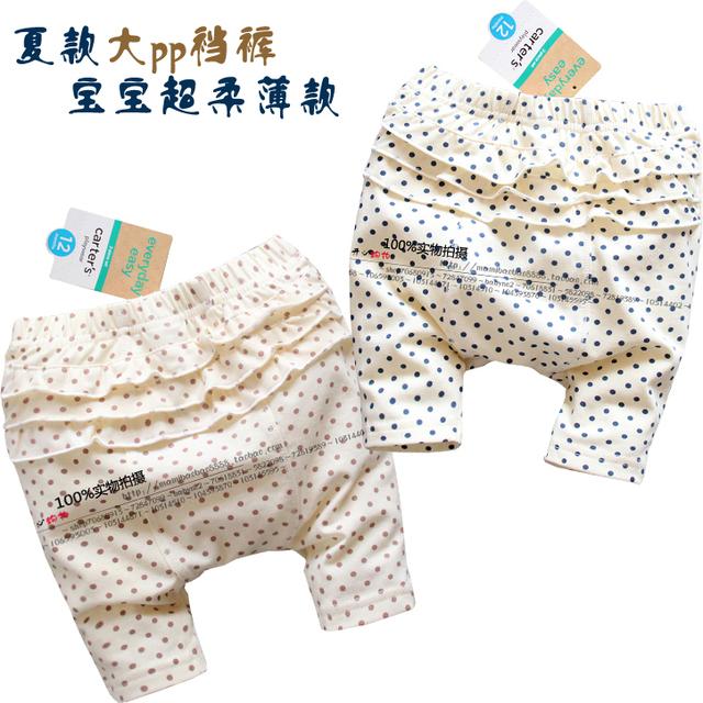 Nuevo 2014 del bebé de ropa de verano niños niñas pantalones lindos capris bebé 100% algodón polka dot pantalones niño ocasional