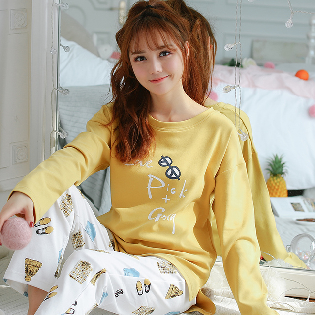 cb6a1e8ce4dc9 Cute Glasses Print top pajama sets women large size sexy o-neck knitted  cotton soft