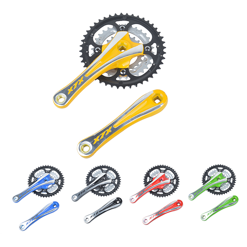 цена на Mountain bike crankset aluminum alloy crank chain wheel square hole 44T with chain cover mountain bike 9 speed gear tooth disc
