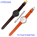 New arrivel quality genuine leather watchband 18mm for Fossil Q Nate/Tailor smart bracelet replacement leather strap