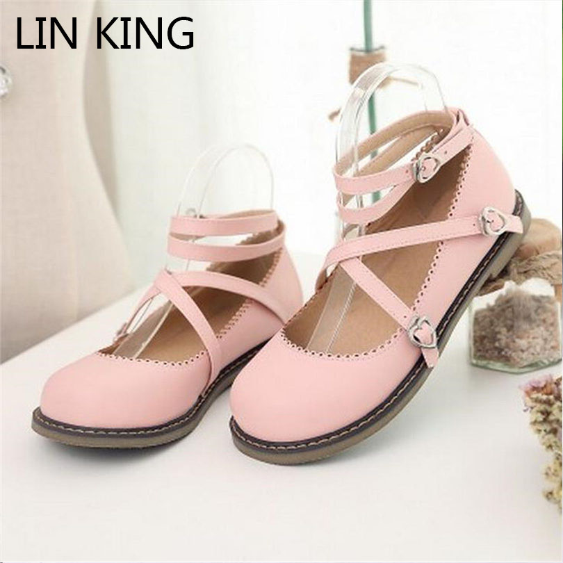 LIN KING Sweet Women Flats Lolita Shoes Spring Autumn Casual Ankle Strap Single Shoes Fashion Solid Buckle Round Toe Lady Shoes spring autumn solid metal decoration flats shoes fashion women flock pointed toe buckle strap ballet flats size 35 40 k257