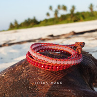Lotus Mann Three Rings Of Cherry Pink Ecru Leather Rope Bracelet
