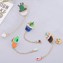Original Japanese Style Succulent Flower Potted Drip Brooch Bags Accessories Cactus Pin Jewelry