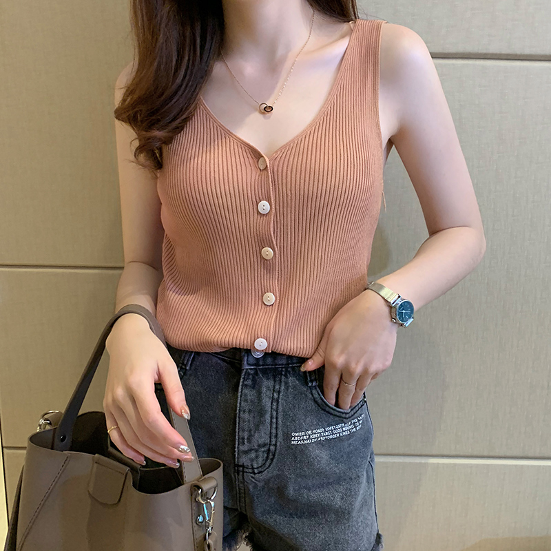 Women   tank     top   2019 summer new street wear thin ice silk knitted button up v-neck sexy   top