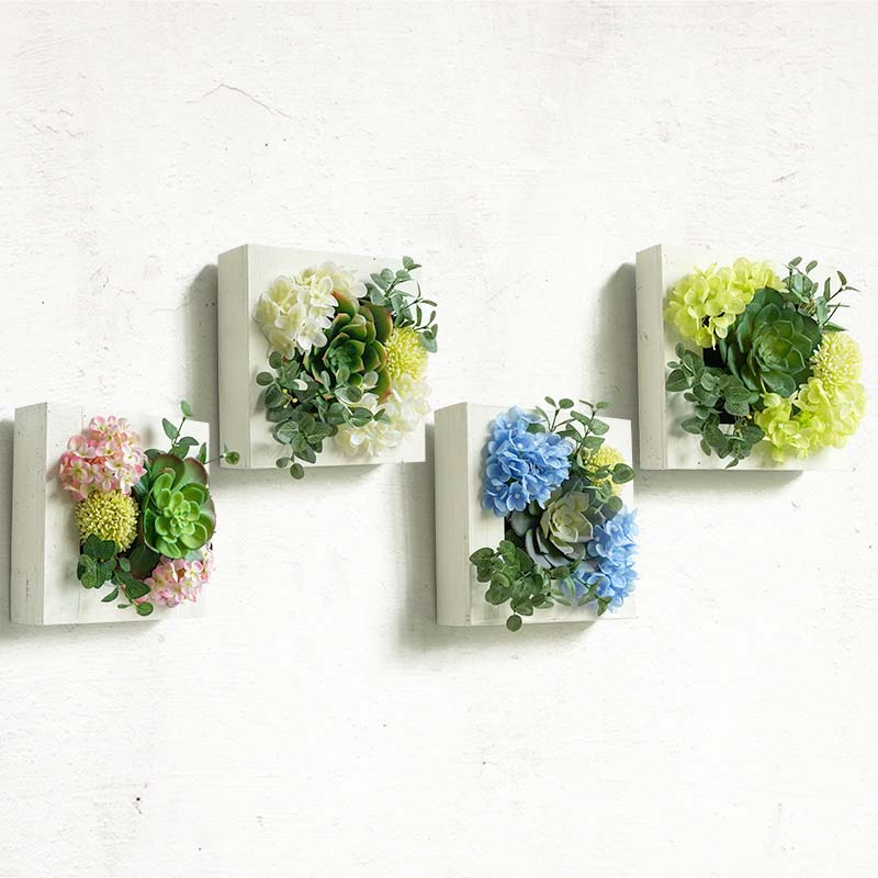3D Potted Creative Metope Succulent Plants Frame Artificial Flowers Cactus Wood Photo Wall Hanger Artificial Plants Home Decor