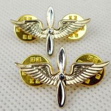 Пара армии США авиационный филиал воротник металлический значок ВМС США воздушный значок солдата PIN