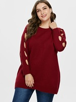 Casual Tunic Sweater Solid Knitted Jumpers Sweater Mujer Autumn Winter Plus Size Sweater And Pullovers Ribbed Detail Long