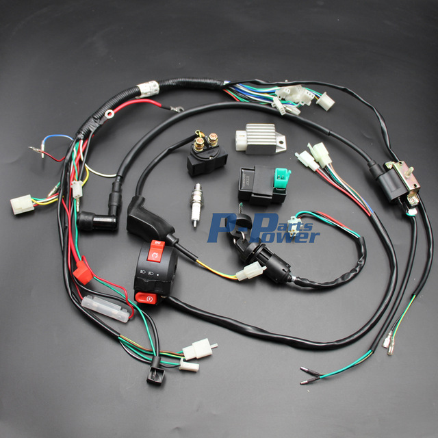 chinese atv wiring diagram 50cc 12 volt alternator 70cc 90cc 110cc 125cc cdi coil wire harness assembly set electric quad buggy gokart new