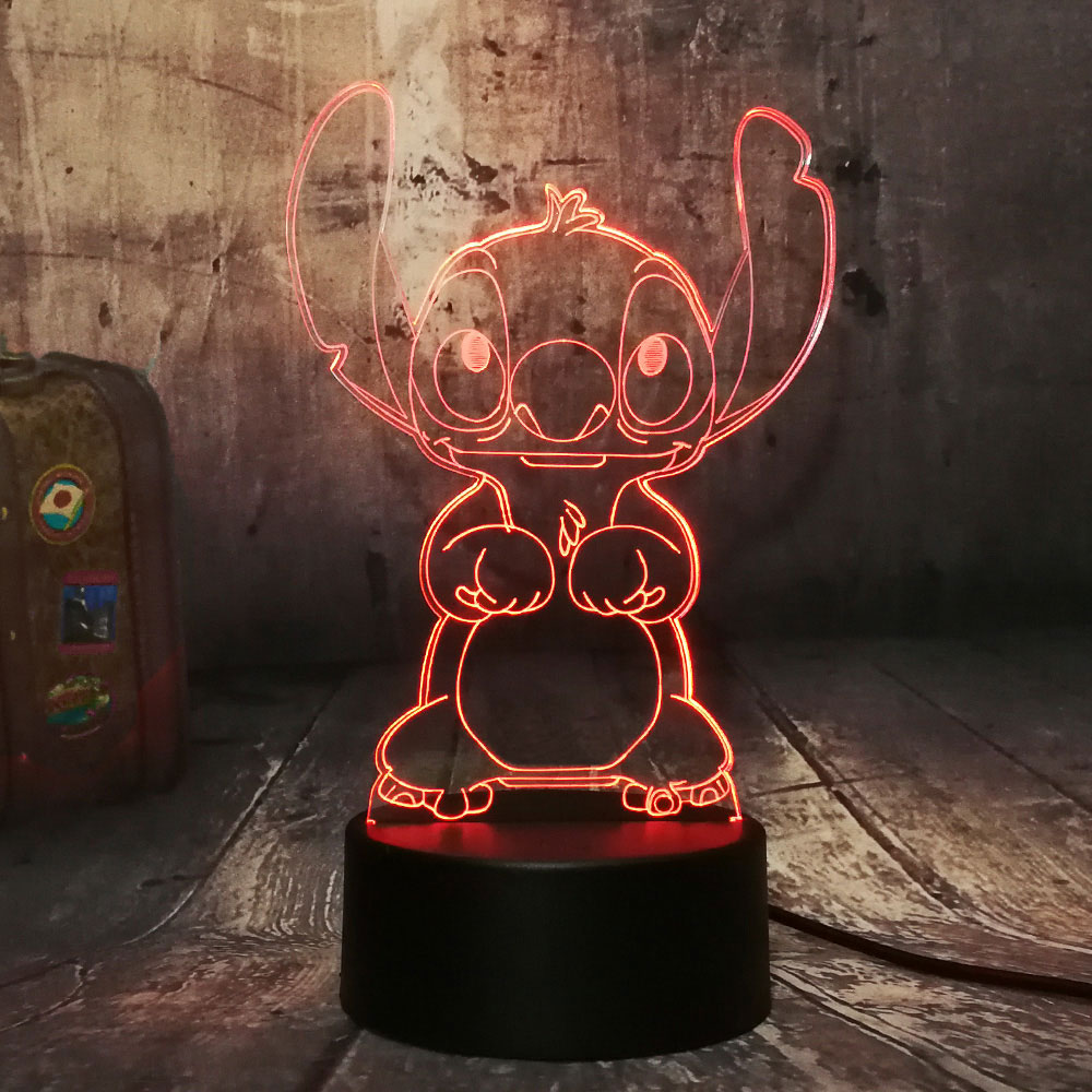 Creative Stitch 3D Night Light Acrylic Panel Children Table Lamp Bedside Lamp USB 7 Colors Change  Bedroom Home Decor Kids Gift