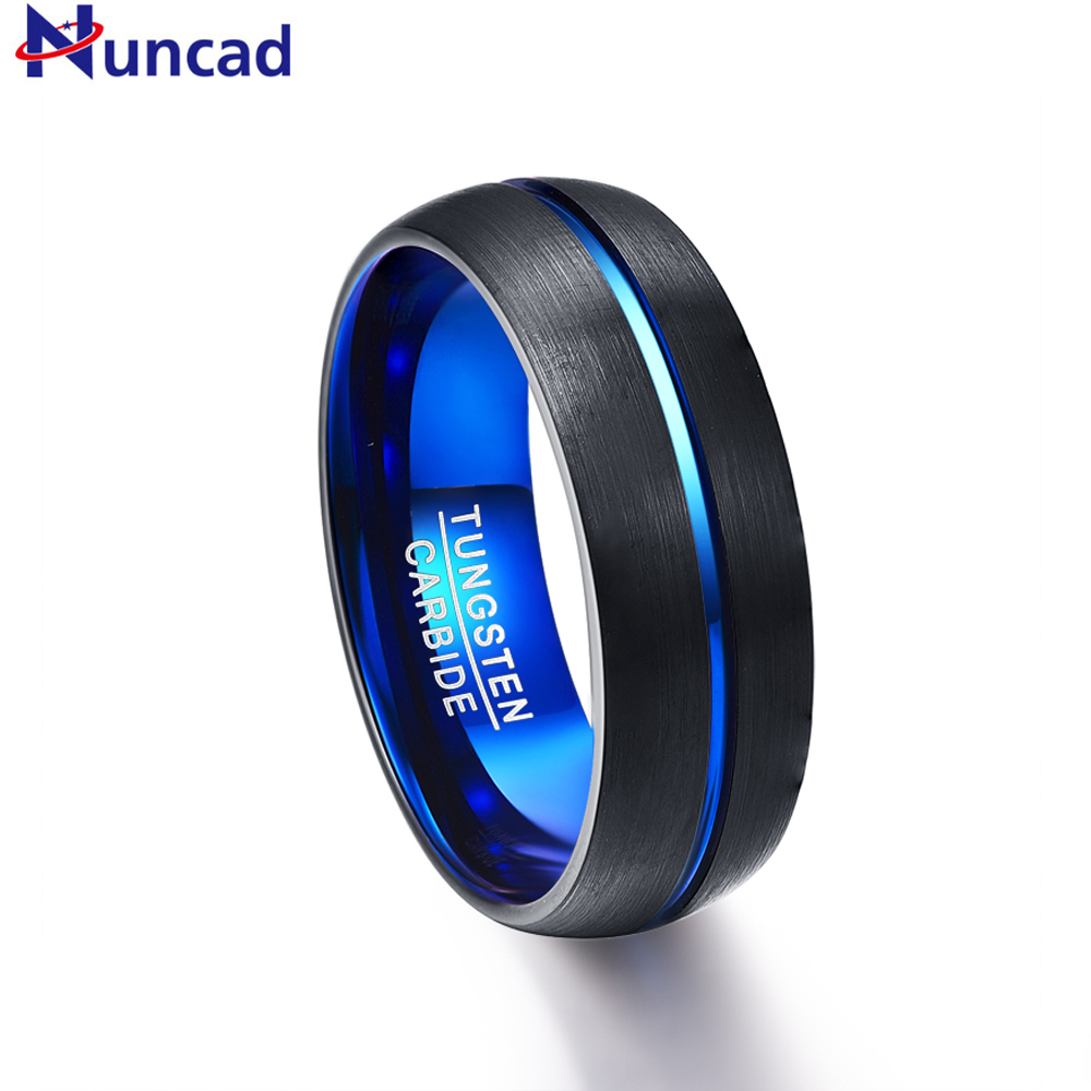 Nuncad Men's 8mm Blue Plated Tungsten Carbide Wedding Band Ring Matte Finish Grooved Size 7 to 12
