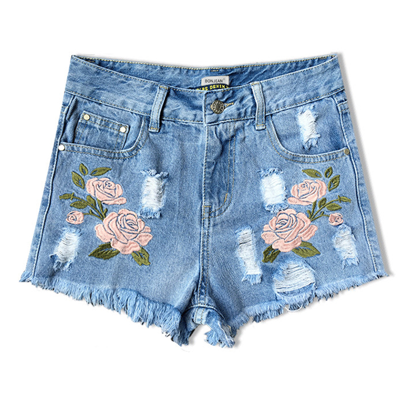 Europe Style Floral Embroidery Denim Shorts Women Ripped Shorts 2017 Summer New Boyfriend Blue Hole Plus Size Woman Short Jeans